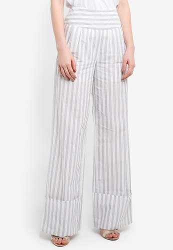 LOST INK grey Wide Turn Up Stripe Trousers 42EBCAA87B19CBGS_1