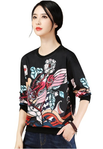 A-IN GIRLS black and multi Fashion Round Neck Printed Sweater 7F6A6AA8EC2922GS_1