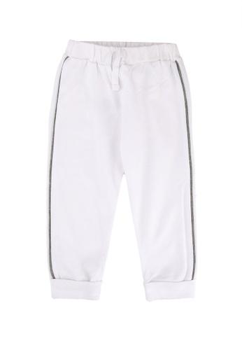 FOX Kids & Baby white Newborn Side Stripe Drawstring Jersey Pants 41F30KA76E8450GS_1