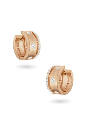 Aquae Jewels pink Earring Rich and Bold Diamond Band, 18K Gold - Rose Gold 66C77AC86BC092GS_1