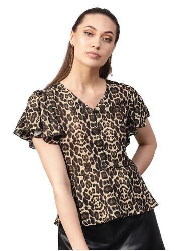 SASSAFRAS black Black Cheetah Peplum Top 2D639AA280BBFAGS_1