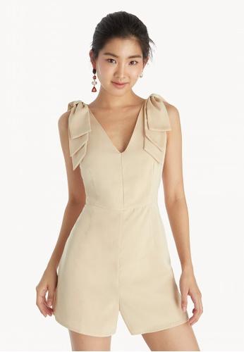 3bc9383f41c8 Shop Pomelo Sleeveless Bow Tie Shoulder Romper - Cream Online on ZALORA  Philippines