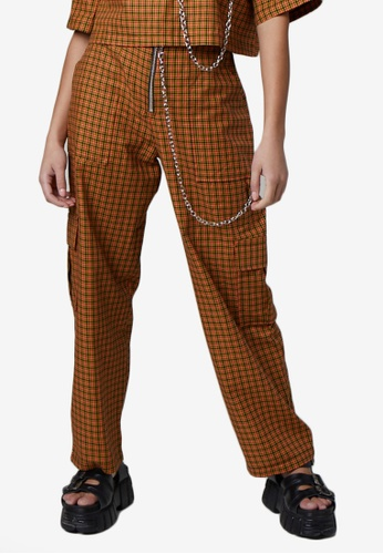 The Ragged Priest brown Pattern Pants A83F9AAA17F40FGS_1