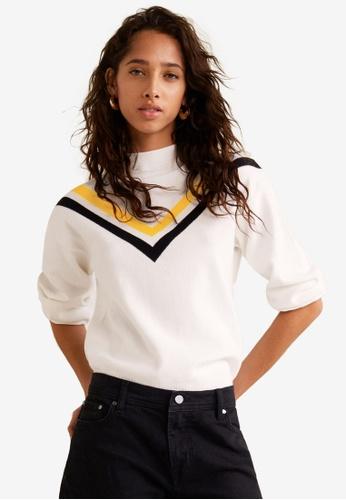 MANGO beige Contrast Panel Sweater 75E1DAAA294475GS_1