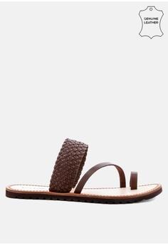 e1c6edcb5cfe Rag   CO. brown Braided Leather Flat Sandal 078FBSH047EA55GS 1