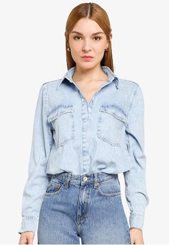 Mango blue Pocket Denim Overshirt FD504AA010EC3FGS_1