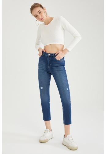 DeFacto blue High Waist Vintage Slim Jeans E494AAA97D95D8GS_1