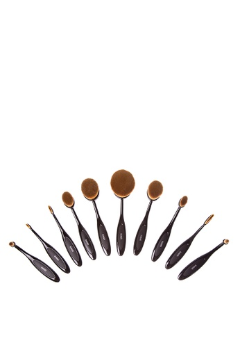 Suesh n/a 10Pieces Oval Makeup Brush Set (Black) SU271BE05QLMPH_1