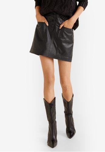 MANGO black Buttons Leather Skirt 2185DAA1A2898CGS_1