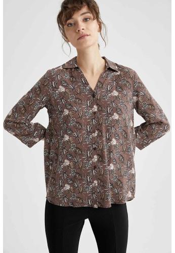 DeFacto brown Woman Woven Long Sleeve Shirt FDFA6AADC3296CGS_1