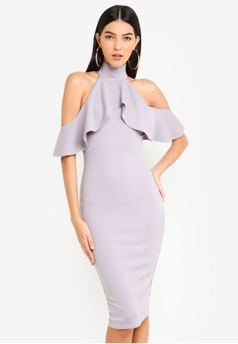 69f8bf8aab2f MISSGUIDED grey High Neck Frill Cold Shoulder Midi Dress 8C99AAA3C28FA7GS_1