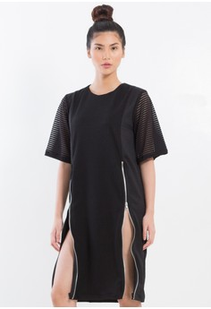 [PRE-ORDER] Shift Dress with adjustable slits and sheer sleeves.