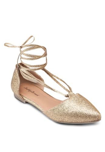 纏繞踝帶亮zalora時尚購物網評價面平底鞋, 女鞋, 芭蕾平底鞋