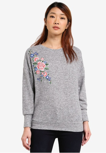 Dorothy Perkins grey Embroidered Detail Top DO816AA0SRCRMY_1