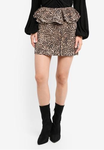 TOPSHOP brown Leopard Ruffle Mini Skirt TO412AA0SZ6TMY_1