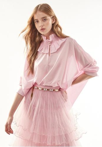 iROO pink Oversize Ruffle Collar Blouse 49419AA2816769GS_1