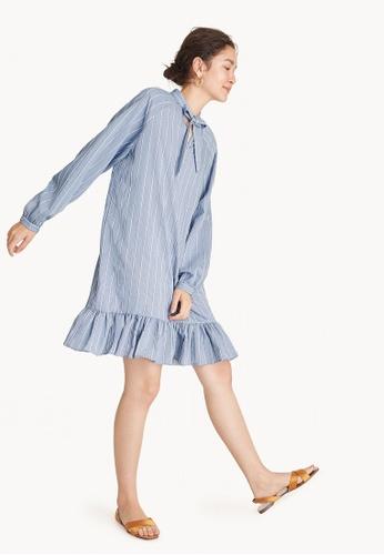 Pomelo blue Midi Striped Collar Tie Ruffled Hem Dress F7069AA72803CDGS_1