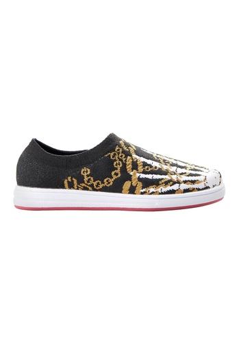 F-KNIT black Ladies Slip-On Hands Pattern Sneaker FK273SH17XGOHK_1