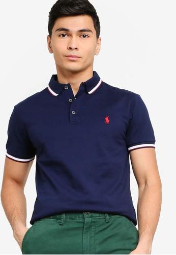 polo ralph lauren navy Slim Fit Stretch Mesh Polo Shirt 49964AA60C19B2GS_1
