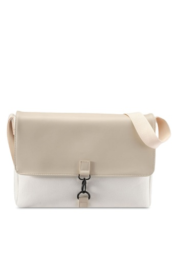 ZALORA white MInimalistic Mix Materials Messenger Bag C1B35ACC6080CDGS_1