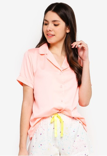 Supre orange Satin Sleep Shirt 7BE5CAAE1CC89FGS_1