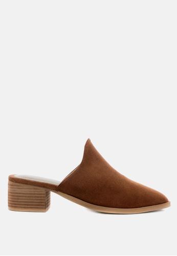 RAG & CO brown Stacked Heel Suede Leather Mules 7EDEASHA66338EGS_1