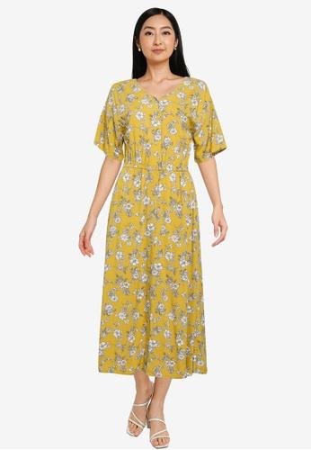 GLOBAL WORK yellow Floral Midi Dress A9DE5AA9FB69F9GS_1