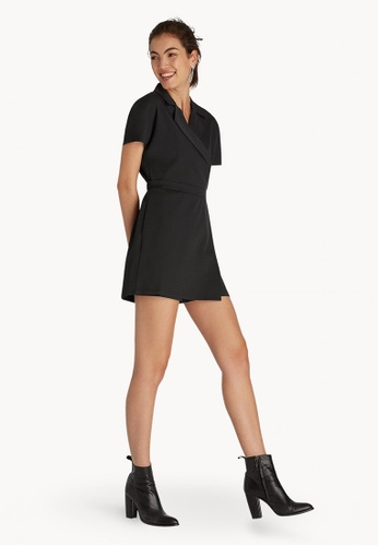 449813d5ce8 Buy Pomelo Mini Wrap Notched Collar Romper - Black Online