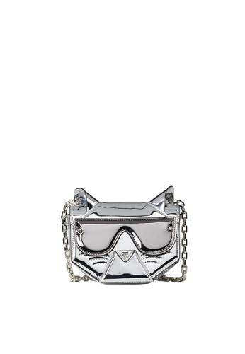 KARL LAGERFELD silver Cyber Choupette Flap Crossbody B44E1ACE64EDB4GS_1