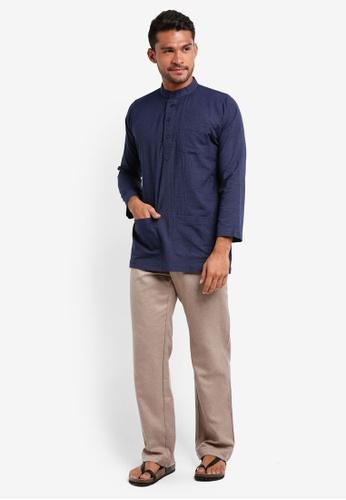 Lubna grey and blue Stripe Baju Melayu Cekak Musang CDD68AA333C3F7GS_1