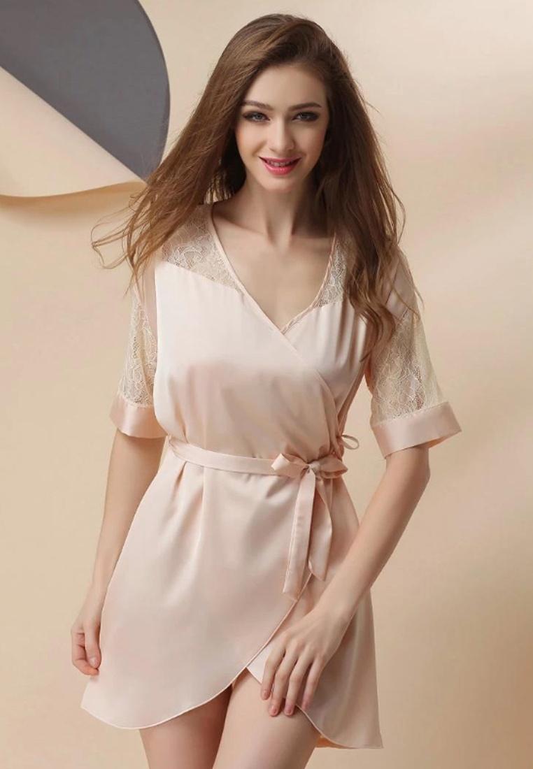 Beige LCL1103Beige Sexy Lady European Lace LYCKA Sleepwear Beige Style LYCKA M 45wzqz7