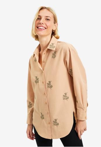 Trendyol brown Camel Shirt 3AADBAA92EEED6GS_1