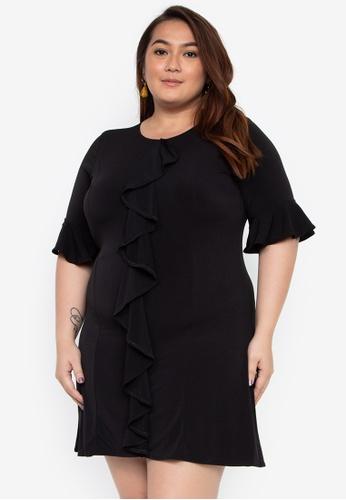 a4ab2a9d6fa Ashley Collection Plus black Plus Size Quarter Sleeves Ruffle Drape Detail  Dress E0BC4AAAD8F4A3GS_1
