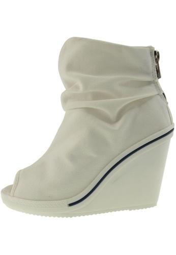 Maxstar 白色 新款韩国鞋777-ToeOpen-Wrinkled時尚帆布布混合女白色 US Women Size MA345SH78HBTTW_1