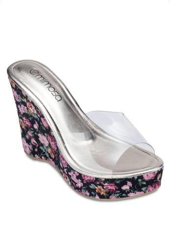 印花楔esprit地址形高跟涼鞋, 女鞋, 鞋
