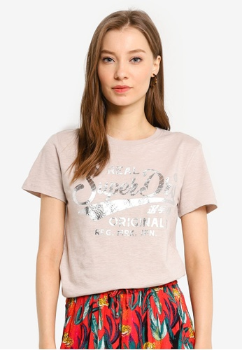 SUPERDRY white Real Originals Text Infill Entry Tee B2CEAAA9126AFCGS_1