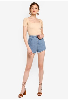 843750ce9ca53e Miss Selfridge Tan Short Sleeve Textured Puff Sleeve Top RM 79.00. Sizes 6  8 10 12 14