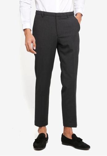 Burton Menswear London 灰色 Charcoal Slim Fit Stretch Check Trousers E3C6DAA6FF303FGS_1