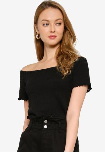 Glamorous black Shirred Crop Top 0F334AA13CAA53GS_1