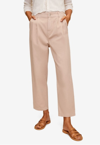 Mango pink Relaxed Pleated Cotton Trousers 6BF3DAAFB9ACD5GS_1
