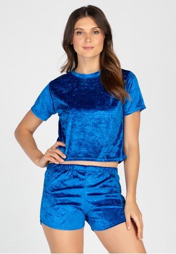 Ninety Nine Point Nine Boutiq blue Velvet Shorts PJ Set FF612AA70BBB68GS_1