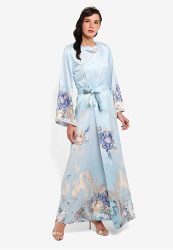 LosraVelda blue and gold Belted Dress in Blue 01102AA78DA308GS_1