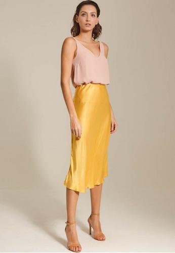 Dressing Paula yellow Satin Midi Skirt B9143AADFA7B28GS_1