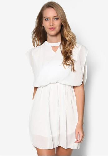 寬袖腰飾雪紡洋裝esprit香港門市, 服飾, 洋裝