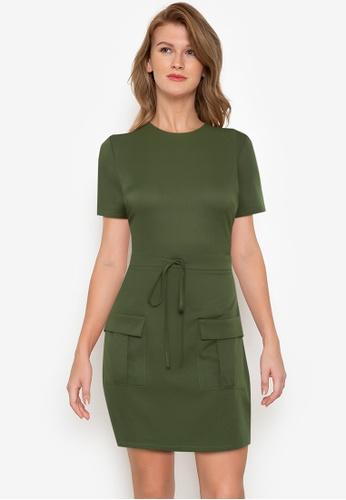 ZALORA BASICS green Short Sleeve Utility Dress C5039AA265D4FFGS_1