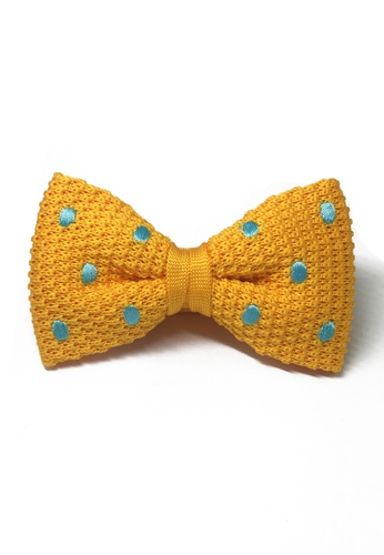 Splice Cufflinks orange Webbed Series Baby Blue Polka Dots Light Orange Knitted Bow Tie SP744AC09UAOSG_1