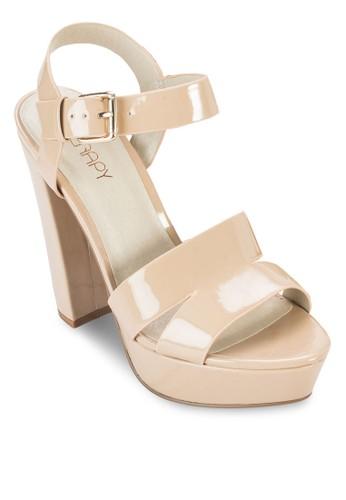 漆面繞踝粗跟鞋, 女esprit 中文鞋, 鞋