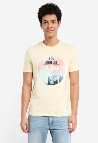 MANGO Man 黃色 短袖印花T恤 15DC7AABB21169GS_1
