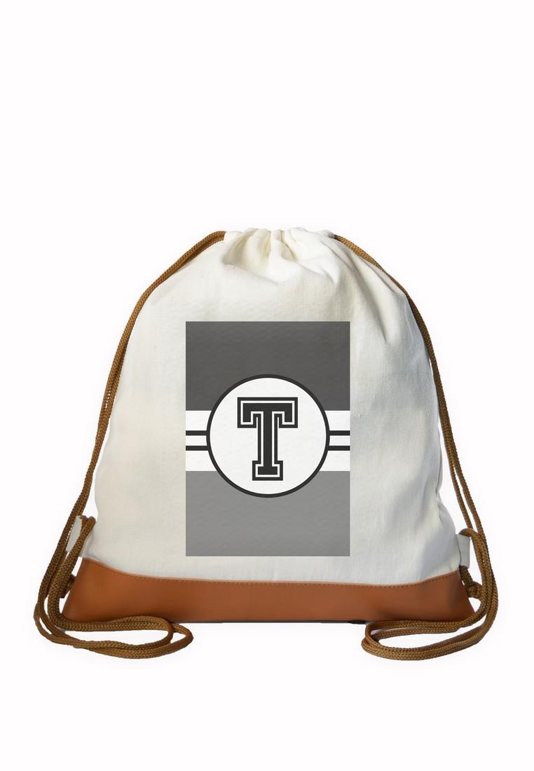 Drawstring Bag Monochrome Sporty Initial T