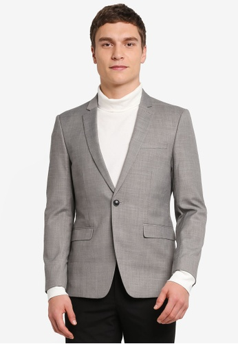 Topman grey Skinny Fit Suit Jacket TO413AA0SHCOMY_1